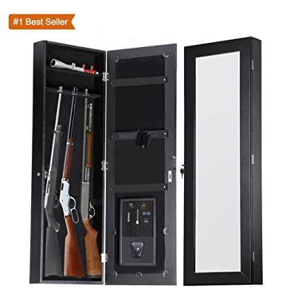 High Quality Gun Cabinet Armoire Hidden In The Wall Mirror Rifle And Pistol Safe (Holds  Small 35.5u0026quot