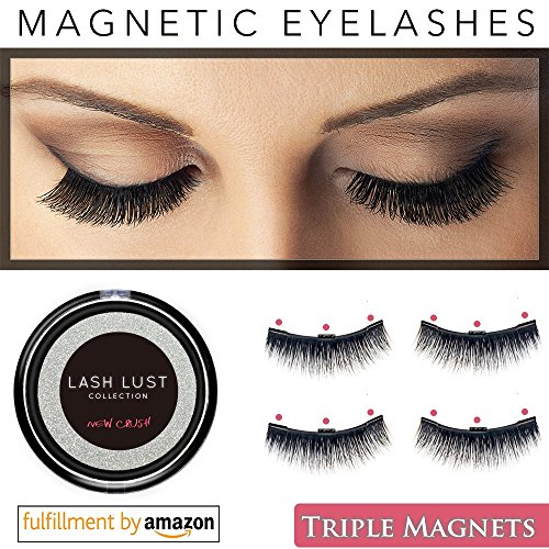 False Magnetic Eyelashes Premium TRIPLE MAGNETS(2set or 4pcs)by LashLust - No Glue, Magic 3D Fake Lashes Extension - Ultra Soft & Natural Look & Handmade-Long & Thick-One Two Cosmetics Cruelty Free