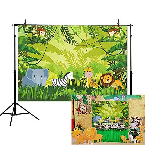 Allenjoy 7x5ft Jungle Safari Themed Birthday Newborn Backdrop Summer Zoo Baby Shower Animals Party Photography Background Children Baby Cake Banner Photo Booth Studio Props -