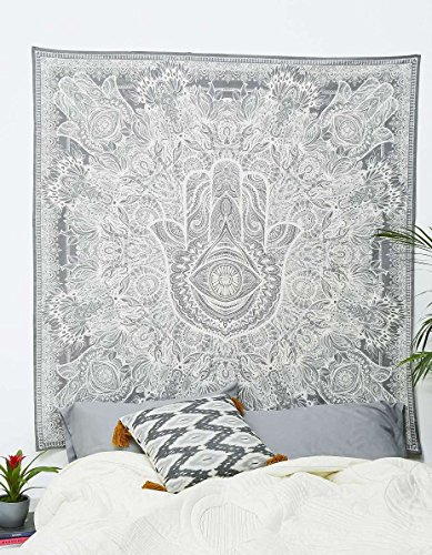 Tapestry Hamsa Hand Throw Indian Hippie Tapestry Wall Hanging, Urban Sketched Hand Tapestry, Urban Tapestry Wall Decor Dorm Deco Bedding by Craft N Craft India