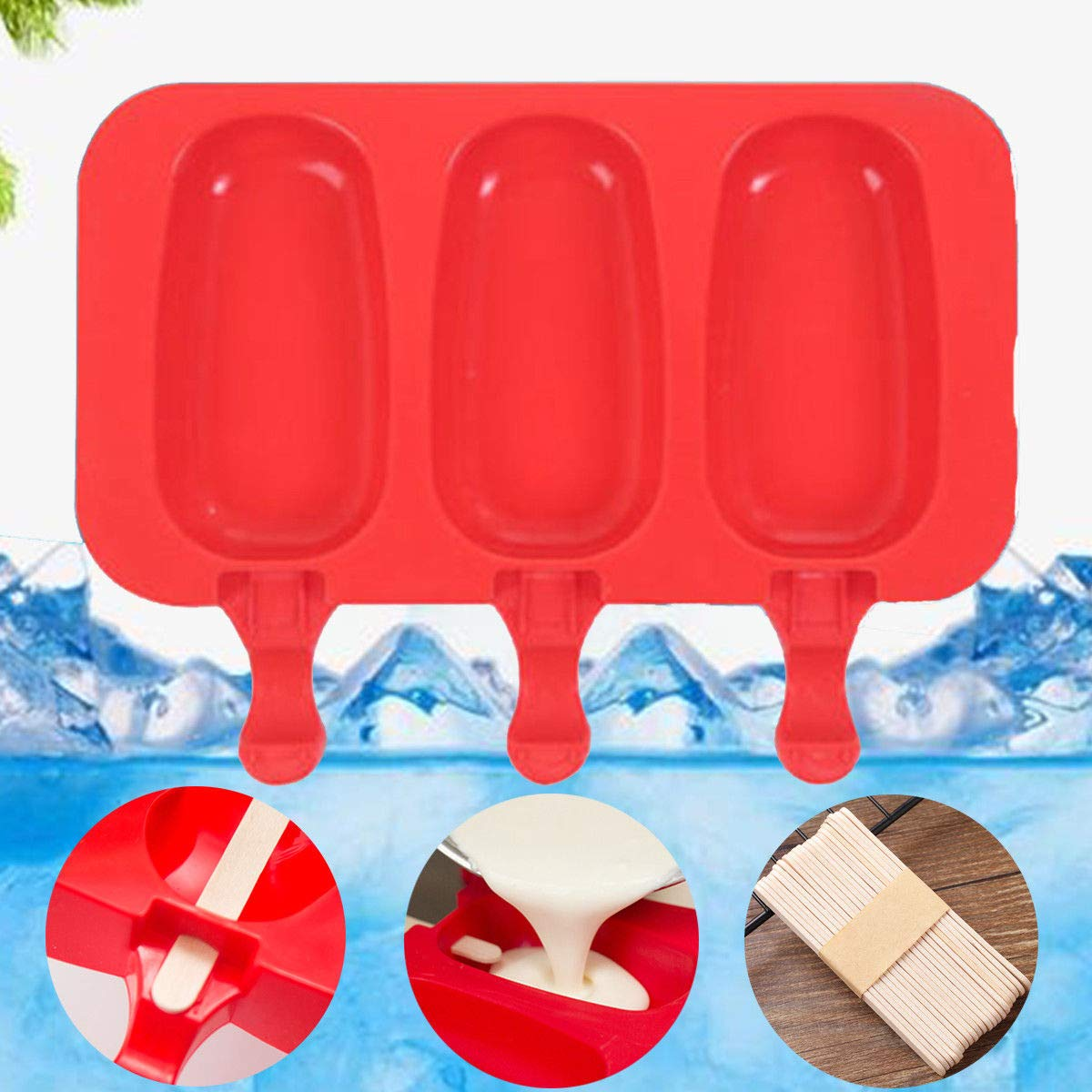 Pop Mold DIY Popsicle Maker Lolly Frozen Tray Ice Cream Mould Jelly+ 20X Sticks