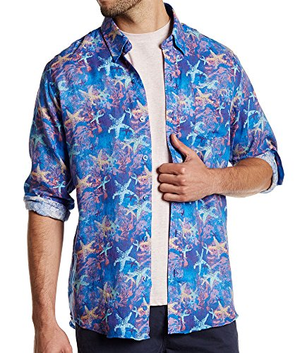 Starfish Linen (Michael's Long Sleeve Starfish Graphic Print Linen Shirt Large)