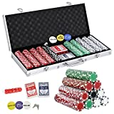 Smartxchoices 500 Poker Chip Set 11.5 Gram Dice Style Clay Casino Poker Chips w/Aluminum Case, Cards, Dices, Blind Button for for Texas Holdem, Blackjack, Gambling
