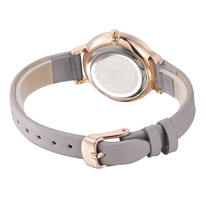 Amazon.com: IBSO Female Watches Leather Strap Round Case Fashion Women Watch for Sale(6608-Full Grey): Watches