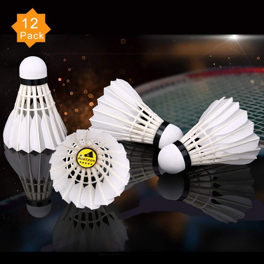 Portzon 12-Pack Goose Feather Badminton Shuttlecocks mit Great Stability und Durability, hoch Speed Badminton Birdies Balls