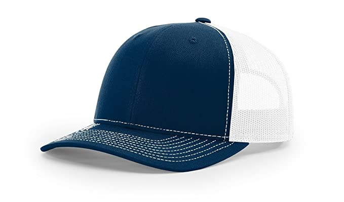 ec3d3837e247f Image Unavailable. Image not available for. Color  Richardson Navy White 112  Mesh Back Trucker Cap Snapback ...