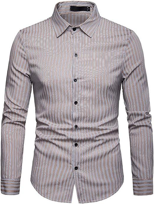 Weentop Camisa de Color Liso con Cuello de Solapa a Rayas para Hombre Slim Fit con Bolsillos (S-XXL) para el Trabajo Diario de Business Party (Color : Caqui, tamaño : Metro): Amazon.es: