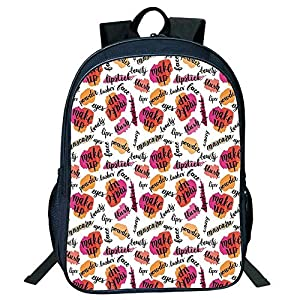 DKFDS Backpacks Unisex School Students Fashion,Trendy Woman Make Up s Calligraphy Blush Lipstick Powder Beauty Pattern Decorative,Multicolor Kids,