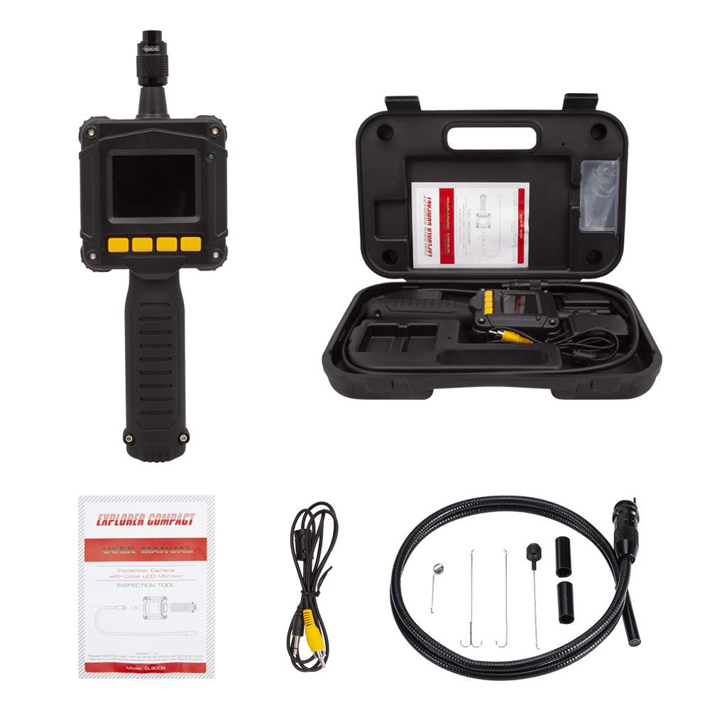 Borescope Inspection Camera 3.22ft/1m, Waterproof Handheld Digital Borescope Semi-Rigid Snake Camera Kit With Color LED Monitor,With Tool Box Mookis