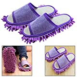 Itian One Pair Microfiber Mop Cleaning House Slippers House Floor Polishing Dusting Cleaning Slippers Mop Slipper (Purple)