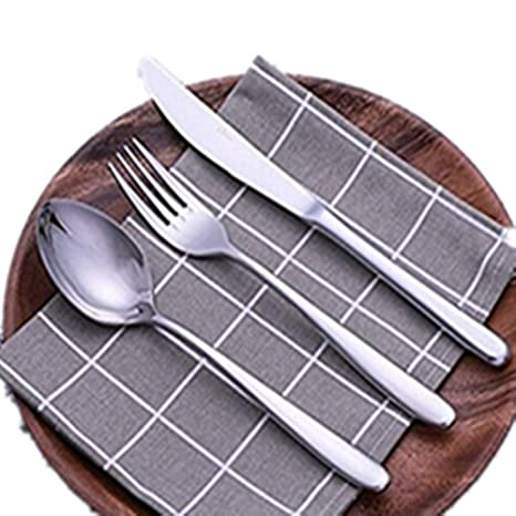 Fyuan 3 piezas Juego de cubiertos de acero inoxidable Juego de cubiertos de mesa Juego de