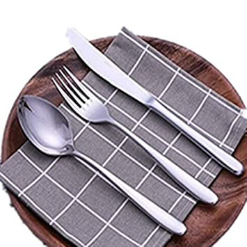 Fyuan 3 piezas Juego de cubiertos de acero inoxidable Juego de cubiertos de mesa Juego de cubiertos de mesa: Amazon.es: Hogar