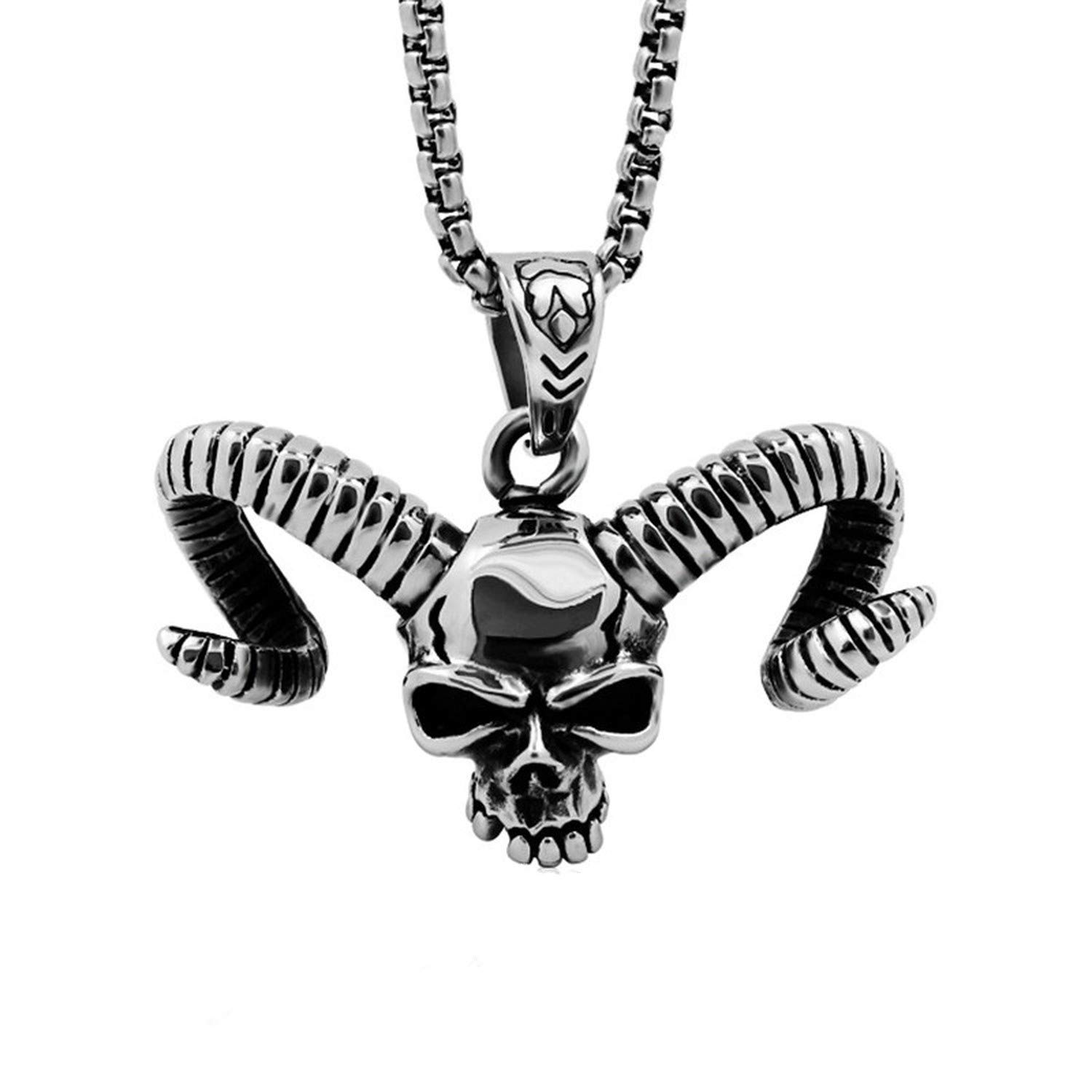 316 Titanium Stainless Steel Men Necklace Retro Skull Cow Horn Pendant Necklace Rock Cool Boys Nightclub Party Jewelry