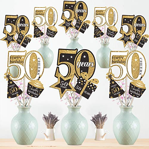 Birthday Table Centerpiece Party (50th Birthday Party Decoration Set Golden Birthday Party Centerpiece Sticks Glitter Table Toppers for 50th Birthday Party Supplies, 24 Pack)