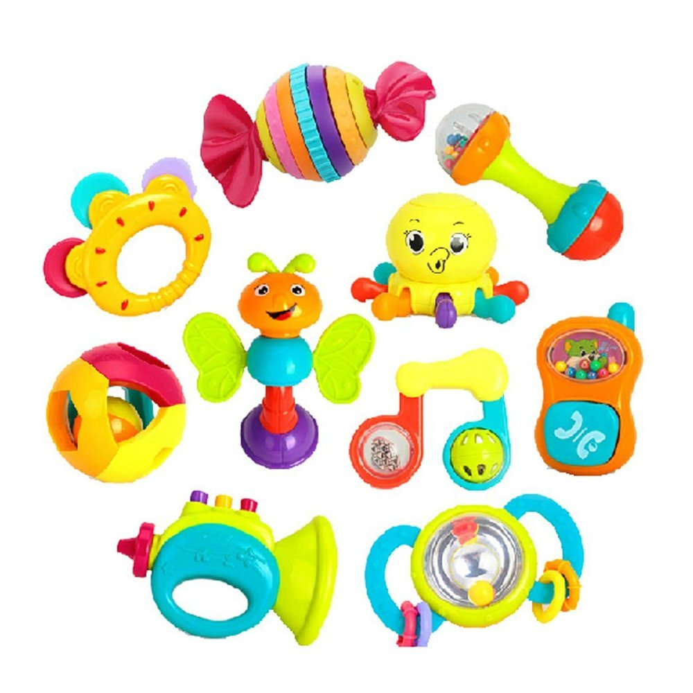 10 pcs Early Education 0-1 years Olds Baby Rattle Sets for baby & Kids Boys and Girls Eastsun Import Limited