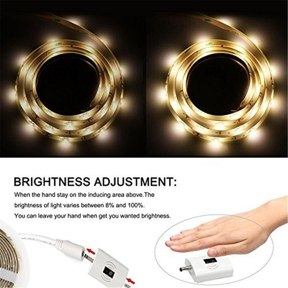 Desks Dorolla 8ft//2.5m Wave//Touch Activated LED Strip Light with 12V ETL-Certified Power Supply and Dimmer for Cabinets Headboards Cool White, 6000K Home Offices Counters Under Cabinet Lighting