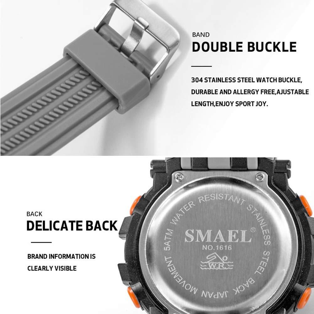 Digital Al Aire Libre Deporte Reloj, Deportes Impermeable Digital Soltero Monitor Luminoso Reloj, Agua Resistente A 30 Metro, para Muchachos Adolescentes ...