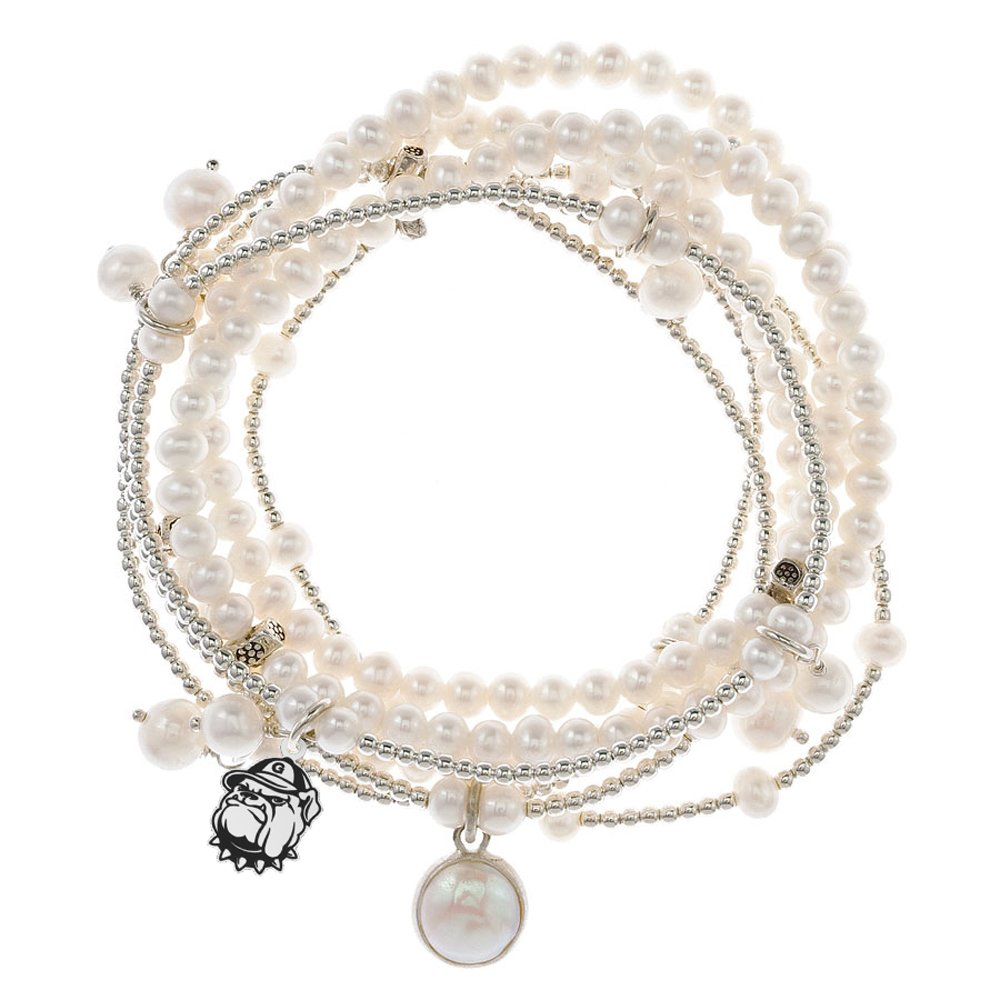 Georgetown Hoyas 7 Strand Freshwater Pearl and Silver Bracelet