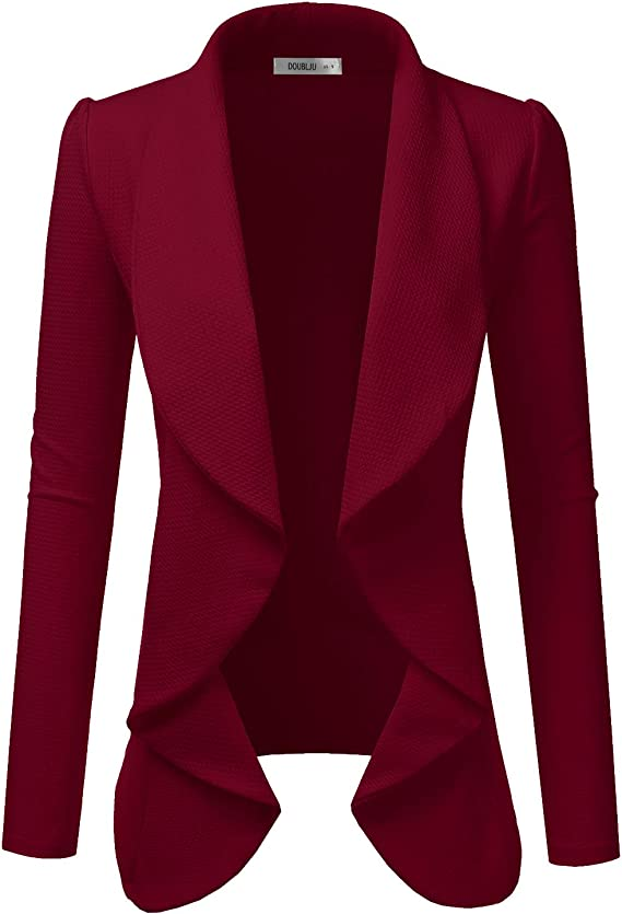 Classic Draped Open Front Blazer for Women with Plus Size