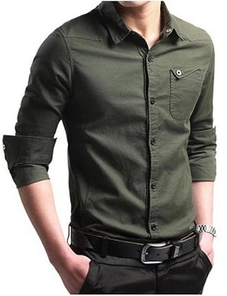 EMMA Camisa de Hombre Básica Moderna Slim-Fit para Negocios Ocio Boda Ligera Camisa de Manga Larga con Alta Calidad YZICE