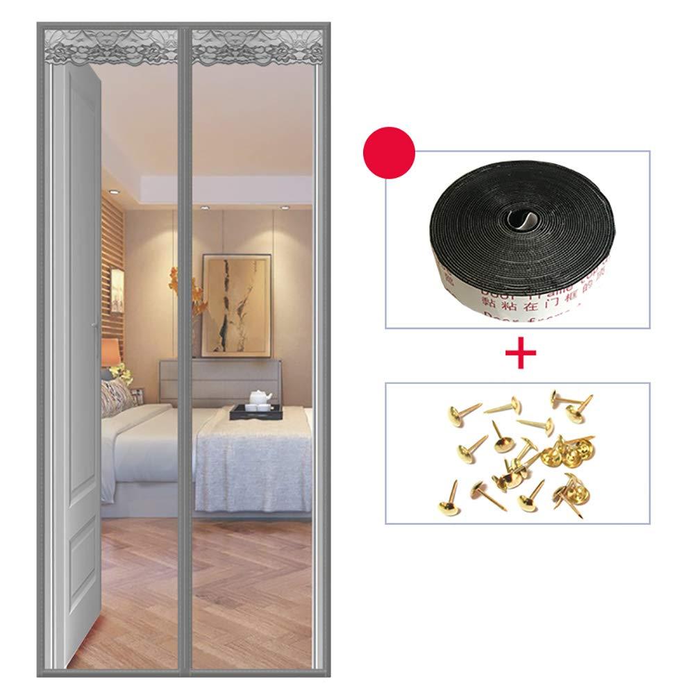 Cortina de puerta de pantalla de imán Mesh -imanes, Cortina de fibra de vidrio premium - imanes de fotograma completo con uno mismo-sello diseño fácil de abrir y cerrar-Gris 130x200cm(51x79inch): Amazon.es: Hogar
