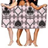 Poker Pattern Sticker Premium 100% Polyester Large Bath Towel, Pool And Bath Towel (80'' X 130'') Natural, Soft, Quick Drying