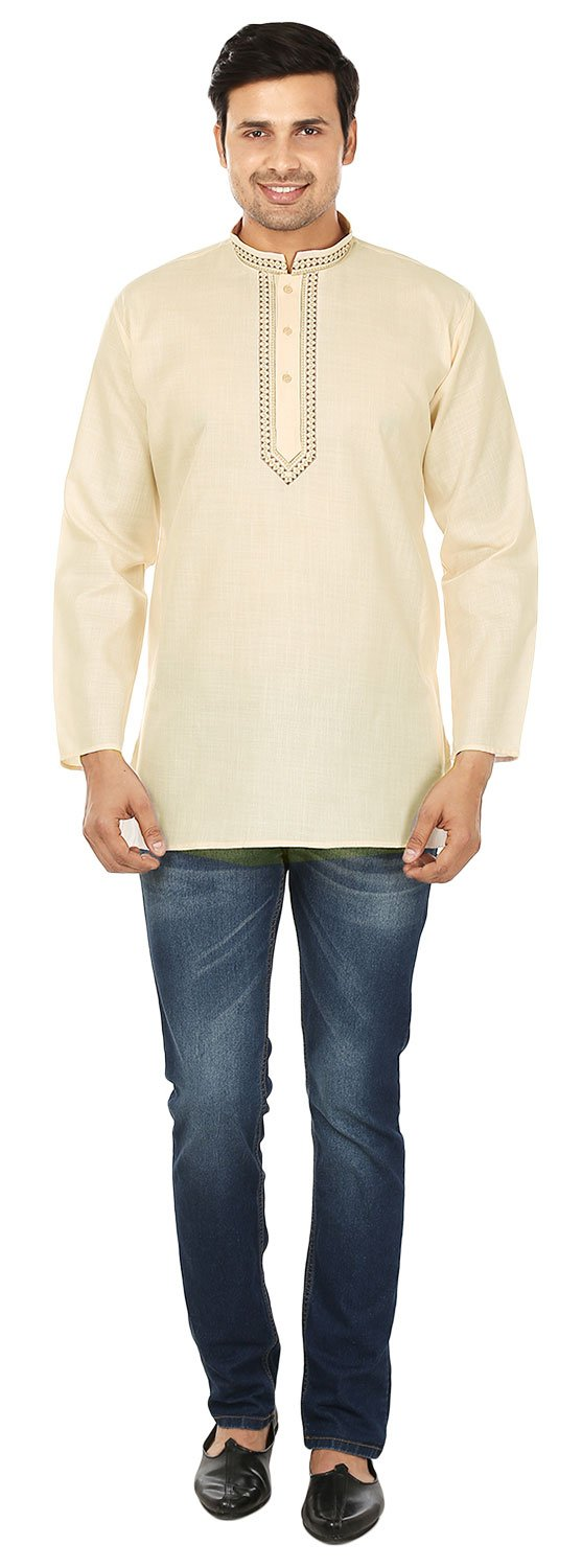 Indian Clothing Fashion Mens Embroidered Short Kurta Cotton (Cream, XL) by Maple Clothing (Image #5)