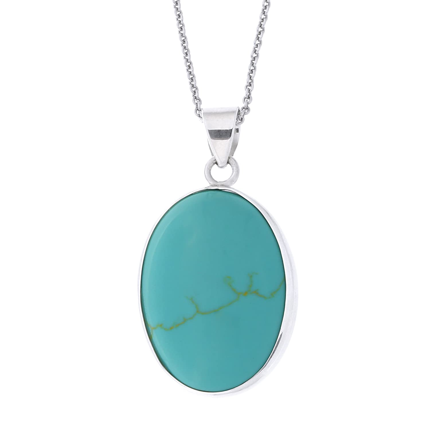 Beauniq Solid Sterling Silver Simulated Turquoise Oval Pendant Necklace