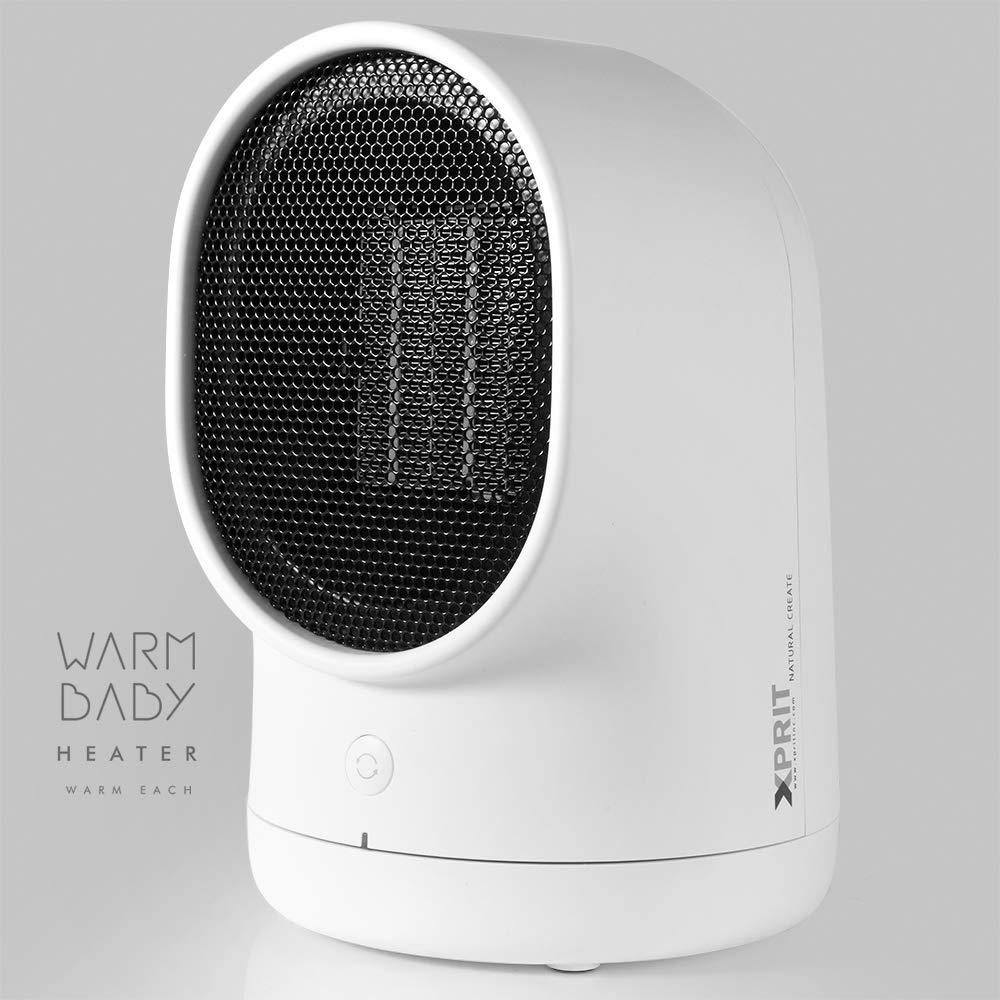 XPRIT Desktop Space Heater Cute Design Ceramic Heater w Auto Oscillating White