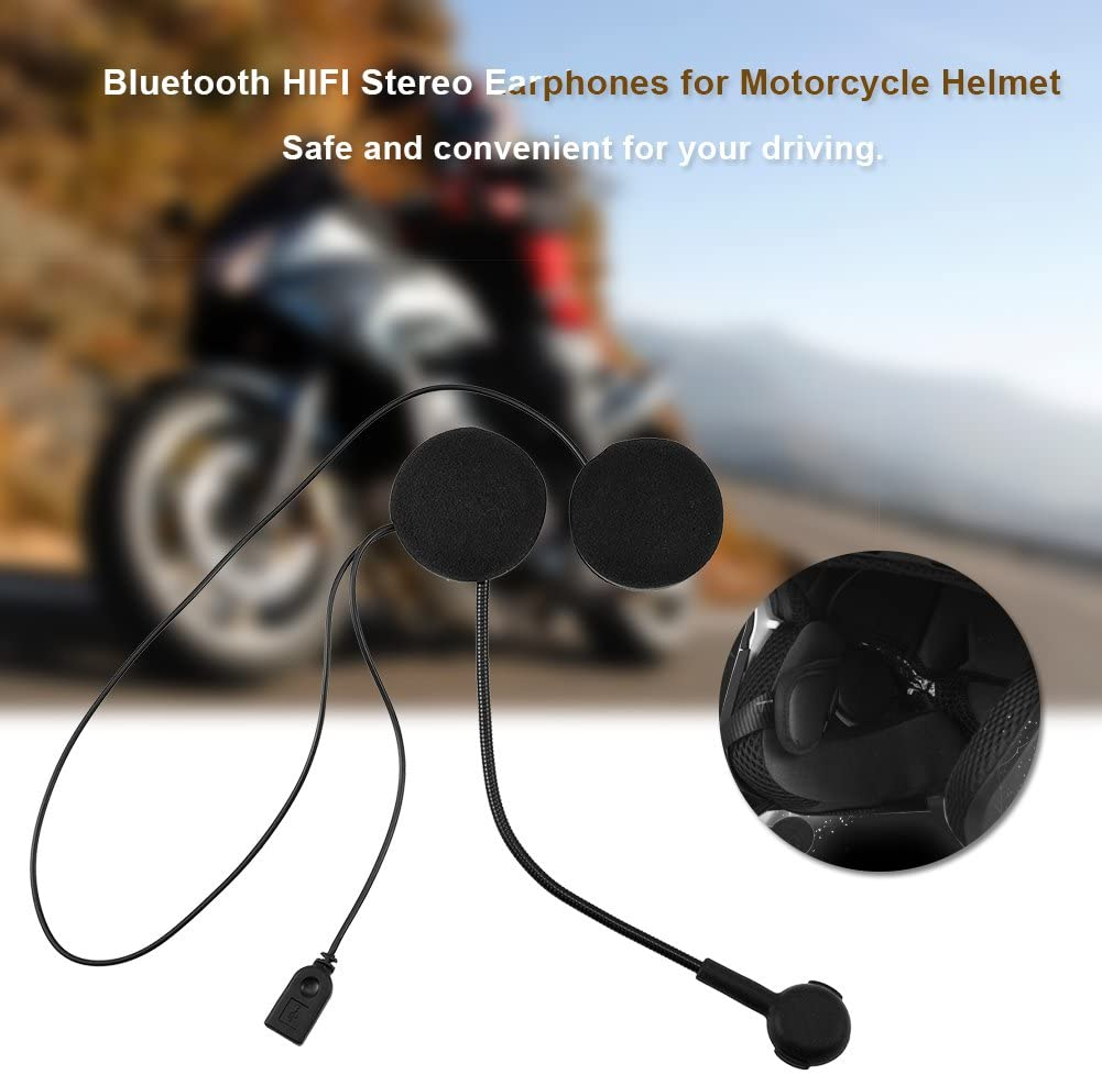 Anti Bruit Helmet Headset avec Haut-parleurs St/ér/éo Bluetooth 4.0 Oreillette HiFi Exliy Moto Casque Ecouteurs sans Fil Port/ée 10m pour Moto//V/élo//VTT//Voiture