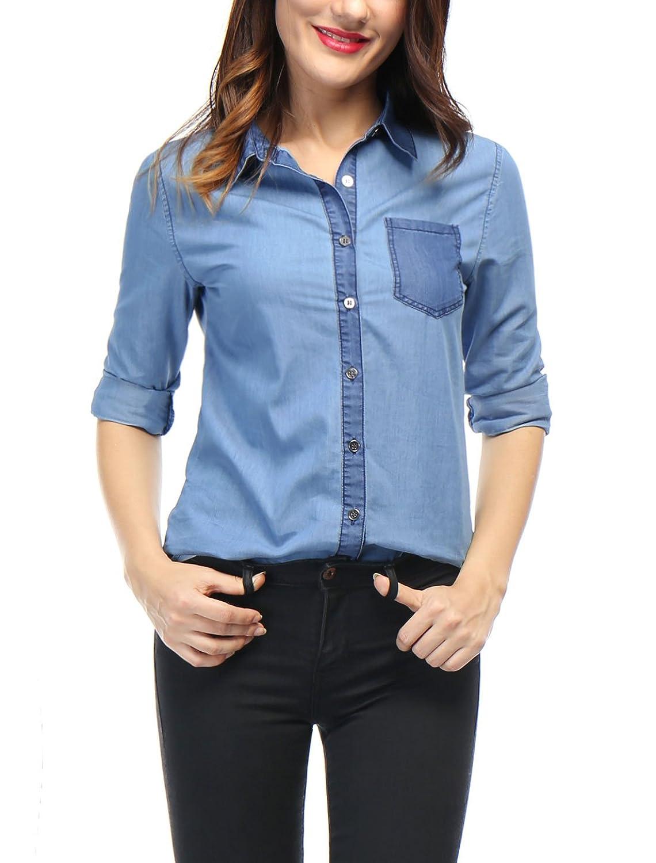 Allegra K Women Contrast Color Long Sleeves Denim Shirt