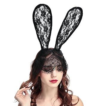 Women's Lace Bunny Mask Headband Sexy Black Lace Accessory Sweet Bunny  Rabbit Ears Venetian Filigree Lace