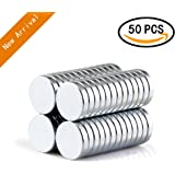Refrigerator Magnets,50PCS Premium Brushed Nickel Fridge Magnets,Office Magnets by A AULife - 10 X 2 mm