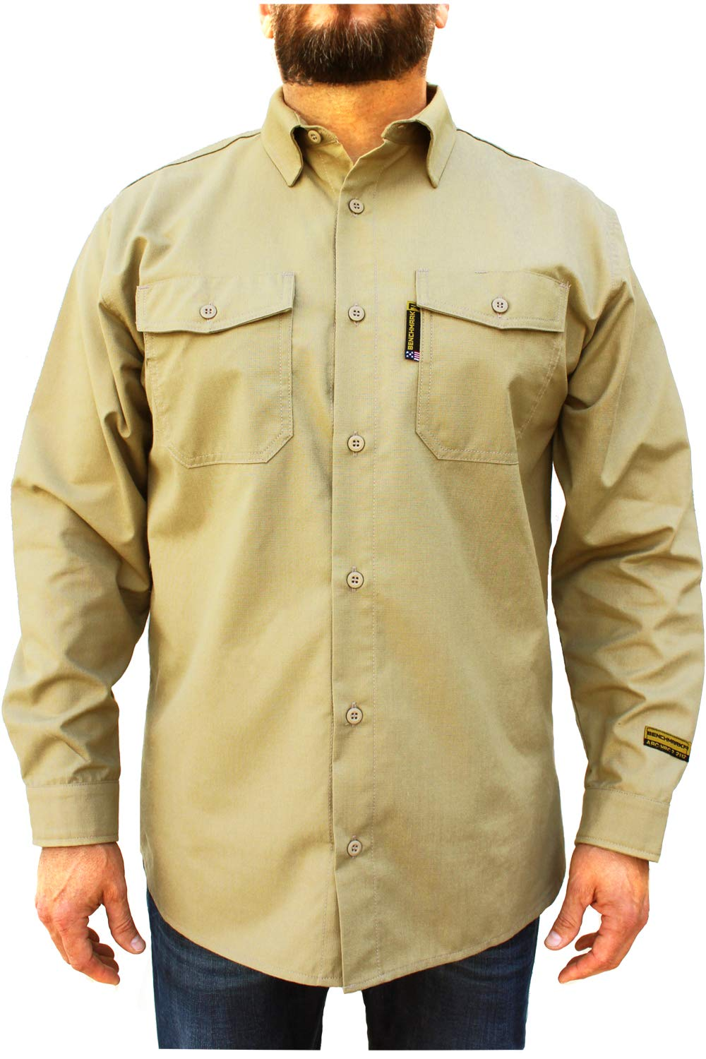 Benchmark FR Silver Bullet, 5.1 oz Ultra Lightweight FR Shirt, NPFA 2112 & CAT 2, Moisture Wicking, Men's FRC with 9 Cal rating, Made in USA, Advanced FR Materials, Beige, Large by Benchmark FR (Image #2)