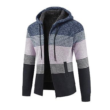 Hombres Abrigo Chaqueta suéter JiaMeng Chaqueta de Punto con Capucha y Cremallera de Rayas Outwear Tops Suéter Blusa Abrigos: Amazon.es: Ropa y accesorios