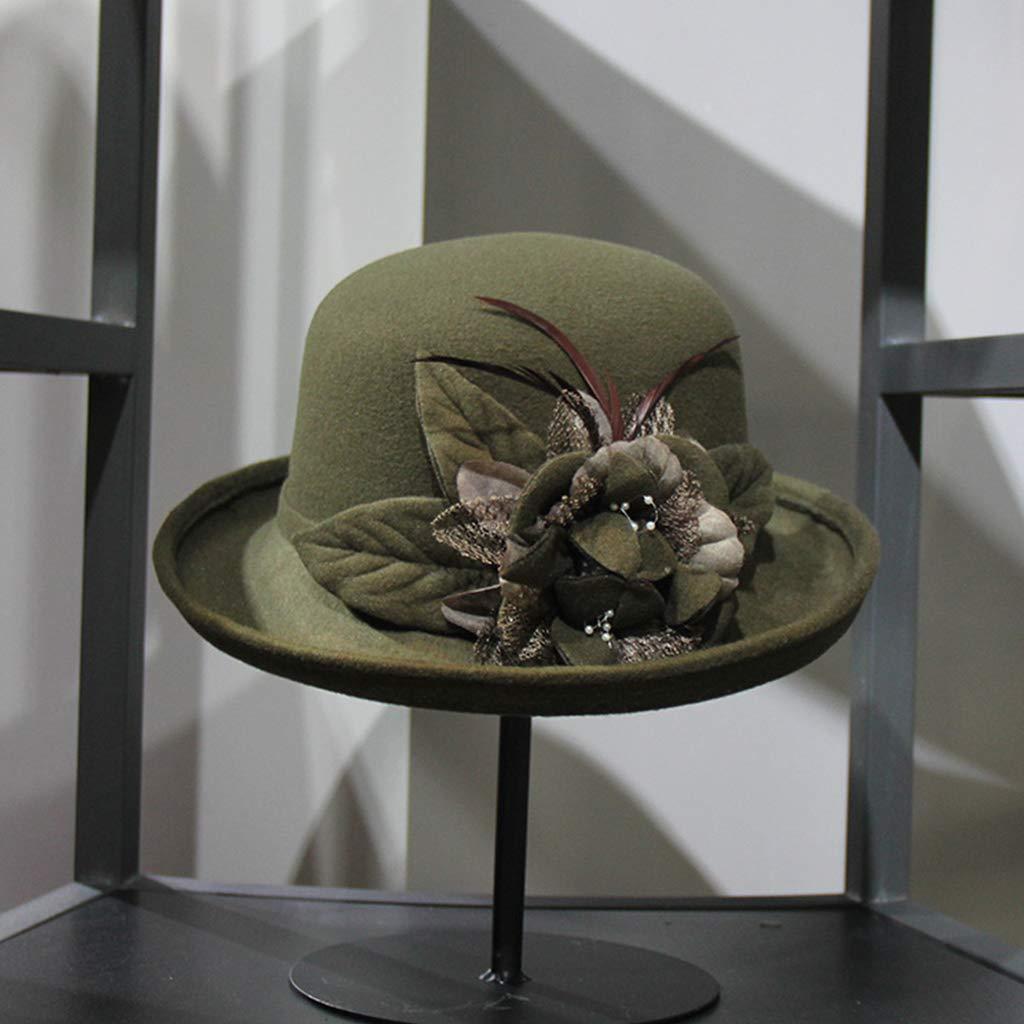 Museourstyty Sombrero de invierno vintage de fieltro sint/ético recortado Bowler sombrero flor pluma imitaci/ón perla Bowknot elegante Beret Sombreros amarillo