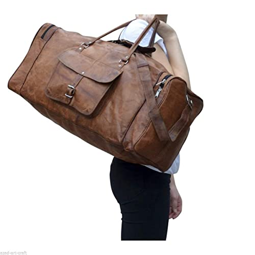 e8468d7862 Image Unavailable. Image not available for. Color  24 quot  Men s Genuine  Vintage Leather Large Duffle Travel Gym Weekend Overnight Bag