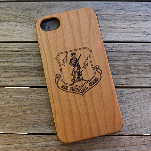 (CH7) Air National Guard Logo Custom Engraved On A Cherry Wood Phone Case With Flexible TPU Sides For IPhone 6, 7 And 8 (CH7-AIRNATIONAL)