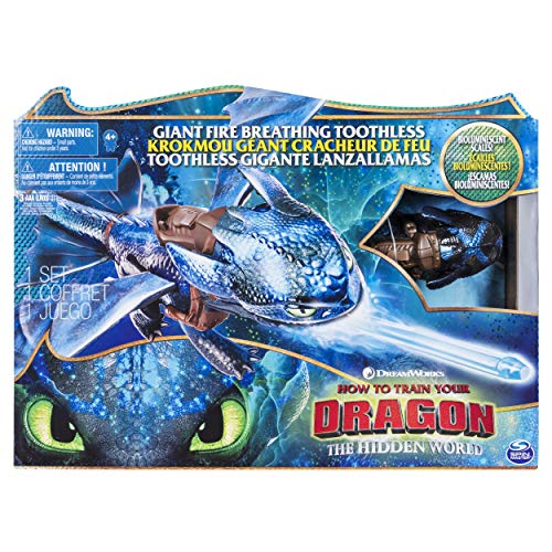Dragons 6045436 DreamWorks, Giant Toothless, 20-inch Fire Breathing Effects and Bioluminescent Colour, for Kids Aged 4 and Up, Blue/Black -