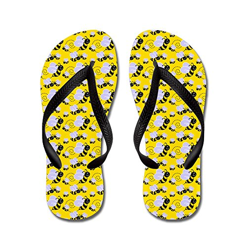 CafePress Bumble Bee Flip Flops, Funny Thong Sandals, Beach Sandals Black -
