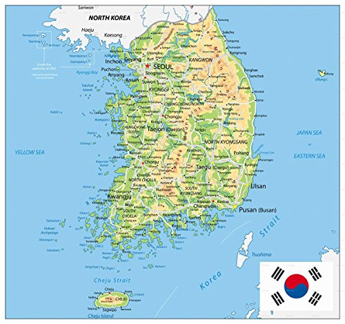 Gifts Delight Laminated 25x24 Poster: South Korea Physical Map by Cartarium GraphicRiver