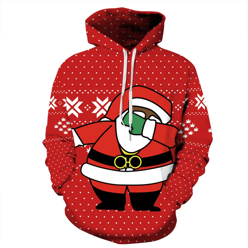 WUAI 2018 Christmas Hoodies for Couple Clearance Unisex Hooded Sweatshirt Casual Outdoors Novelty Printed Loose Tops