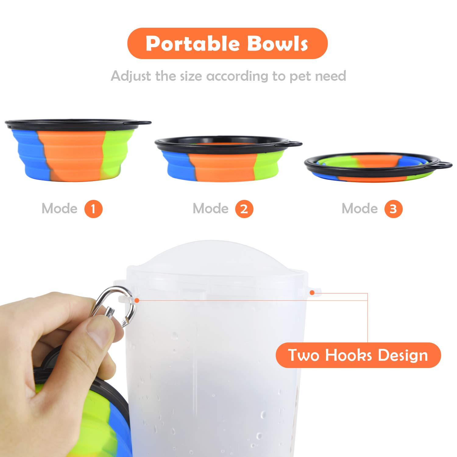 ZukoCert Dog Water Bottle Pet Food Container 2-in-1 with Collapsible Travel Dog Bowls Slow Feeder Outdoor Portable Dog Feeder Drinking Cup