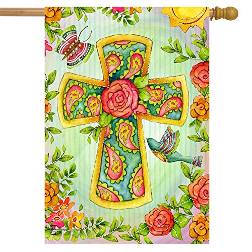 Briarwood Lane Joyful Cross Spring House Flag Religious Floral Birds 28