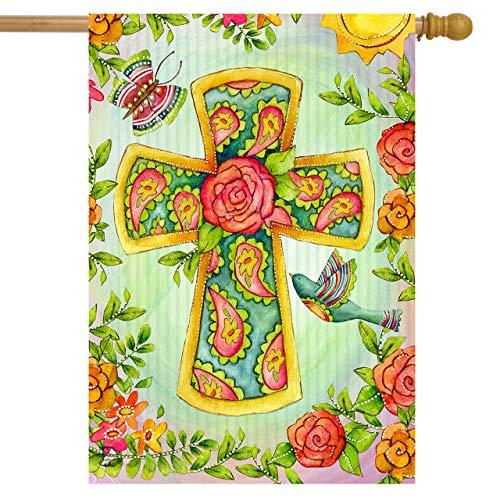 (Briarwood Lane Joyful Cross Spring House Flag Religious Floral Birds 28
