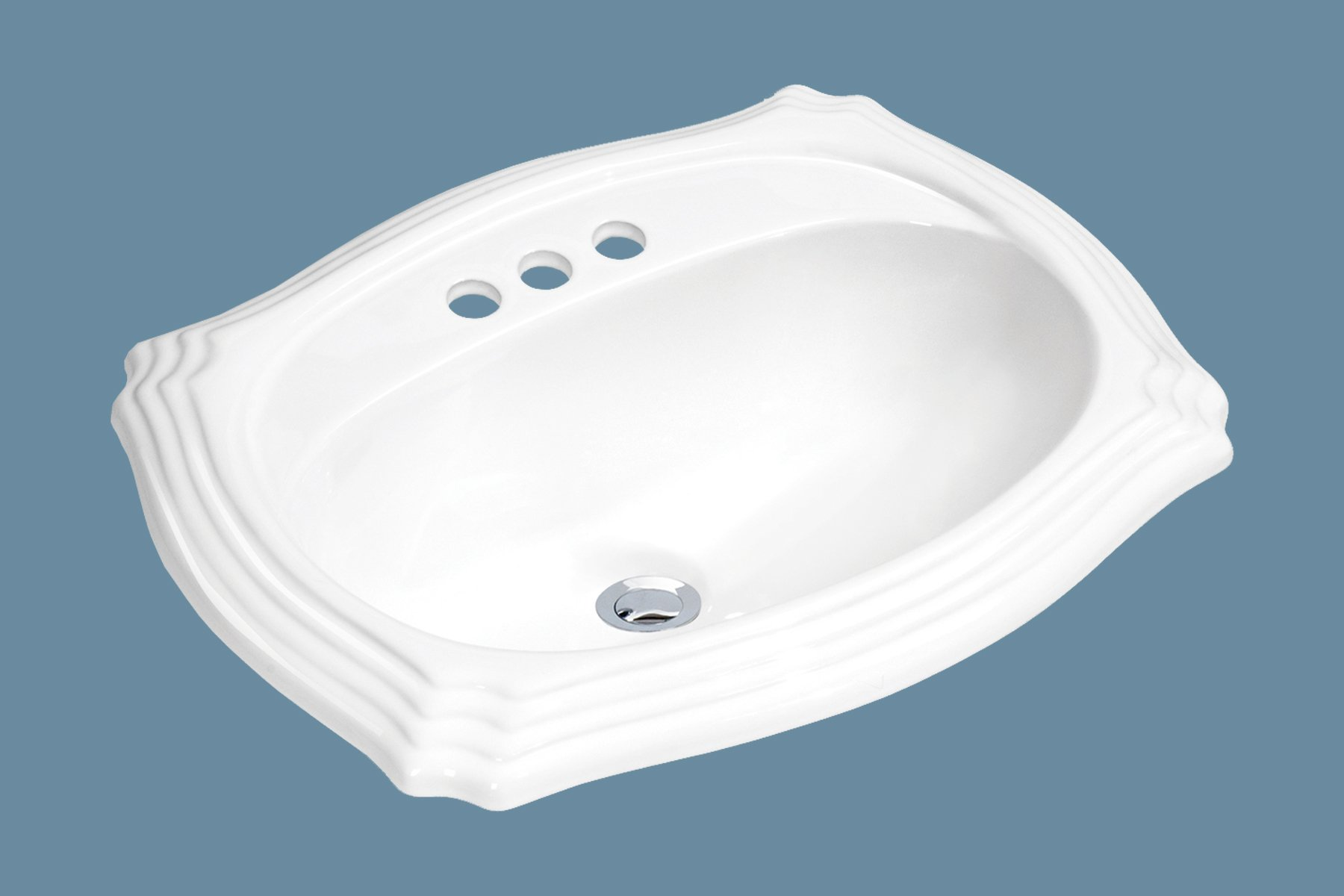 MSCBDP-2319-3W 23'' x 19'' White Oval Porcelain Drop-In Top Mount Bathroom Sink