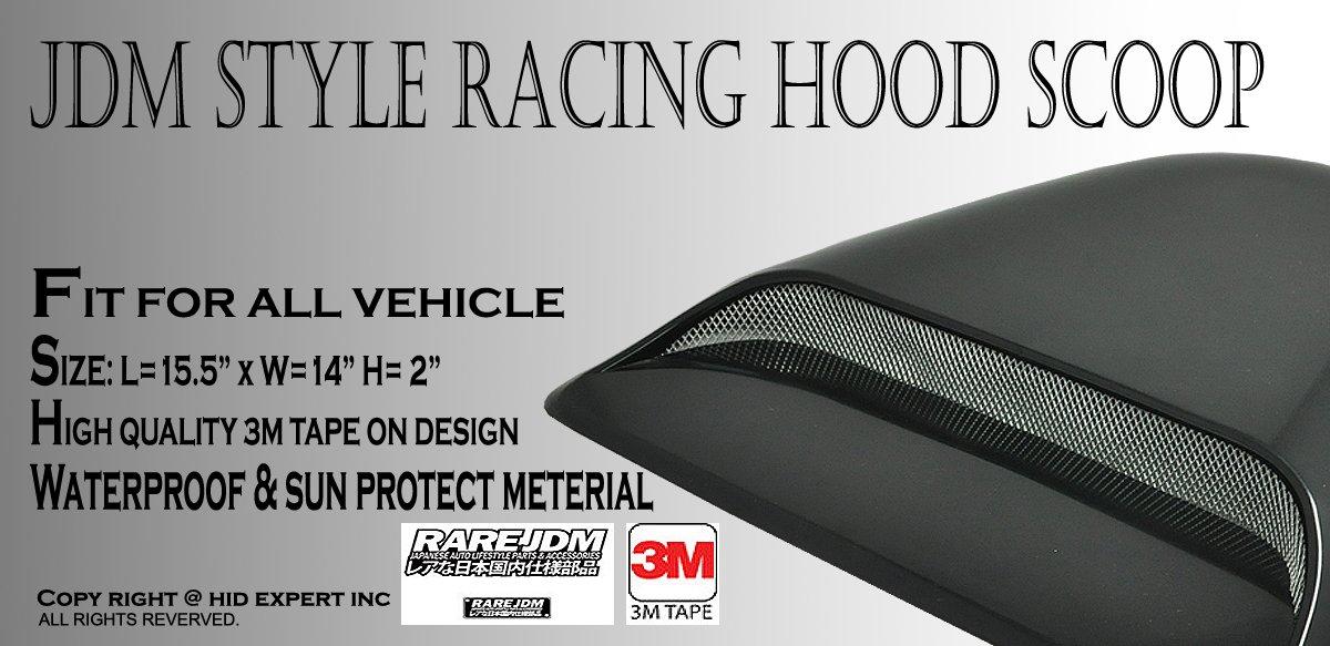 ICBEAMER Black Hood Scoop AERO Dynamic Speed Racer Waterproof Flow w// 3M Tape No Drill Universal for Auto Vehicle Car