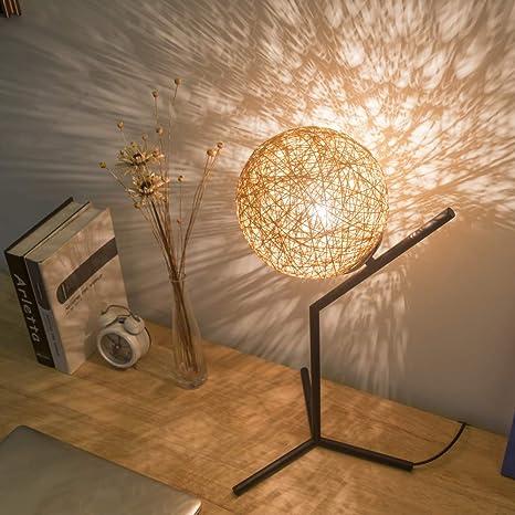 ASDYY Lámpara de Mesa de Madera, lámpara de cabecera LED con ...