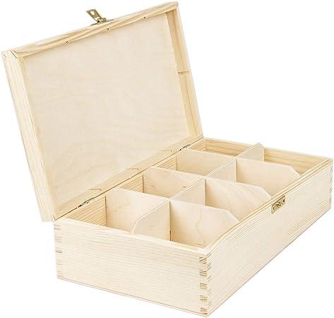 8 compartimentos Caja de té caja de madera con cerradura de la naturaleza 28,5 x 16,5 x 8 cm: Amazon.es: Hogar