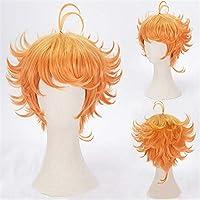 Anime Short Curly Wavy Orange Cosplay Wig Women Girls' Party Wigs (Orange)
